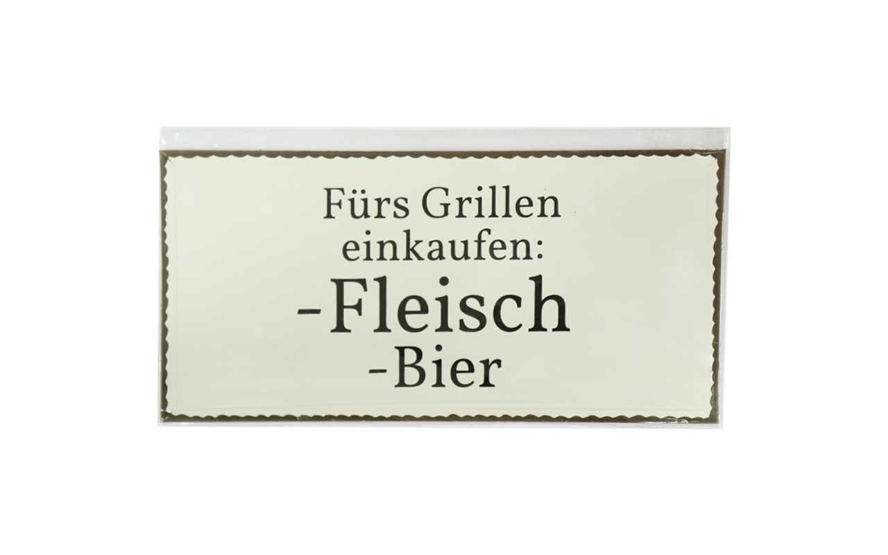 Blech /Metallschild -  Für's grillen einkaufen ...