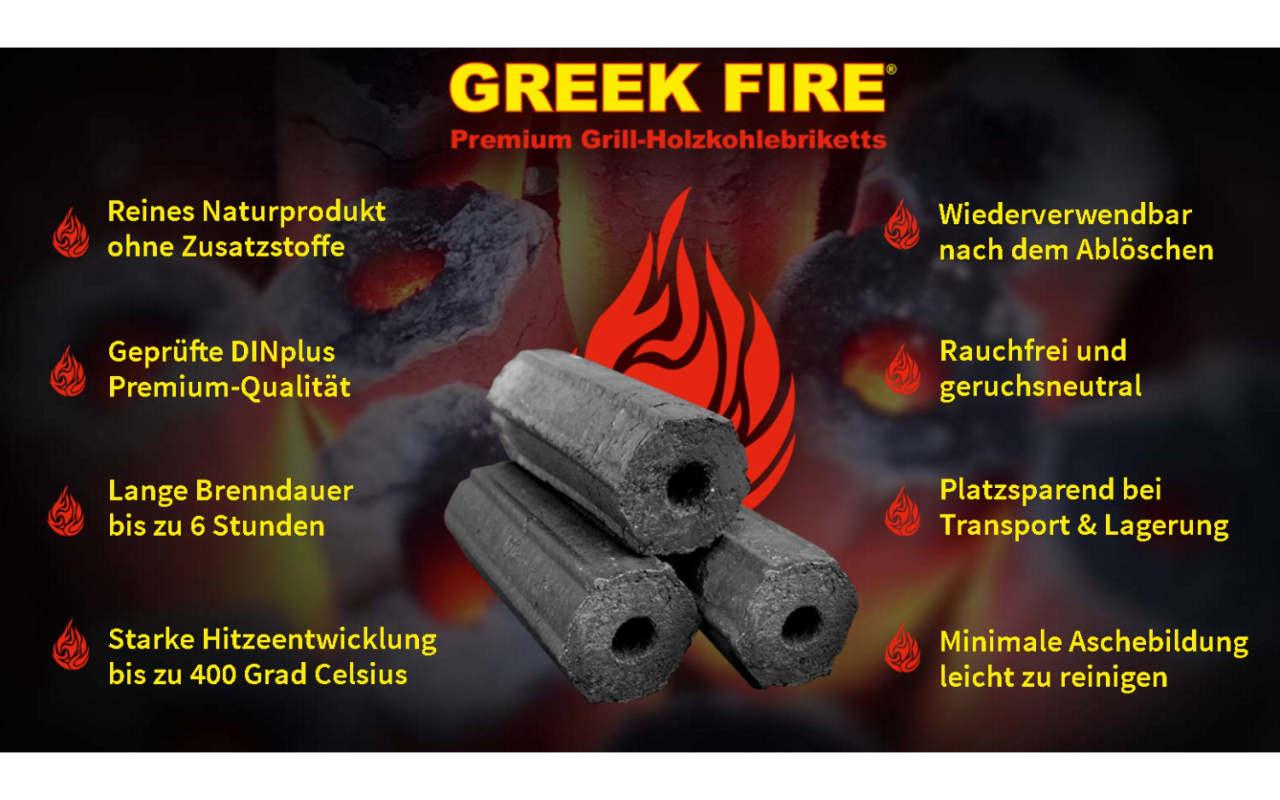 Greek Fire - Premium Grill-Holzkohlebriketts - 10 kg Karton